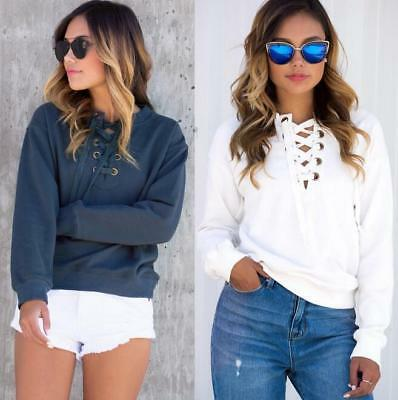 New Women Ladies Knitted Tie Lace Up V Neck Shirt Jumper Top Sweater Pullover