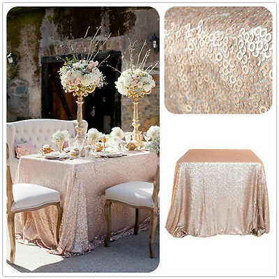 """Hot Sale Sparkly 48""""*72"""" Champagne Sequin Tablecloth for Wedding/Event/Party"""