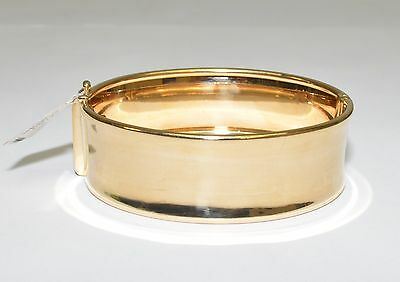 Genuine 9k Yellow Gold 20mm Wide Hinged Bangle 21.1gm #612