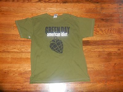 Green Day American Idiot Green Graphic Tee T Shirt Size Large FAST Shipping! TS1
