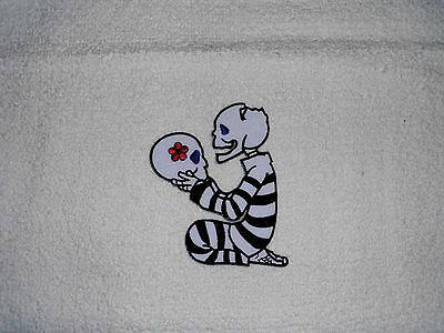 Kitchen/Bathroom Towels W/Crochet Tops Listing T1446 skeleton with skull