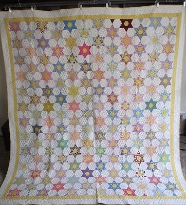 Vintage Antique Quilt 1930's Star Pattern Never Used Expertly Hand Quilted Large