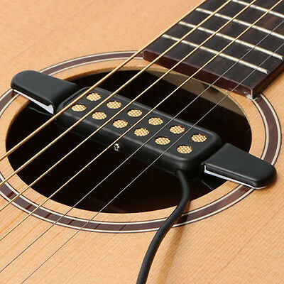 12 Hole-Sound Pickup Microphone Wire Amplifier Speaker for Acoustic Guitar Black