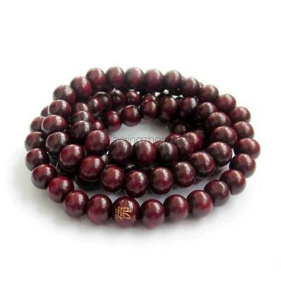 8mm Wood Tibet Buddhist Buddha Word 108 Prayer Beads Long Mala Necklace Jewelry