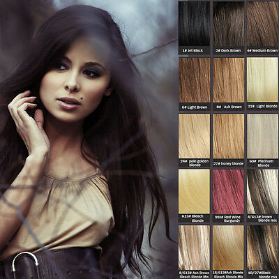 100% human hair hair extensions clip in full set & highlights black brown blonde