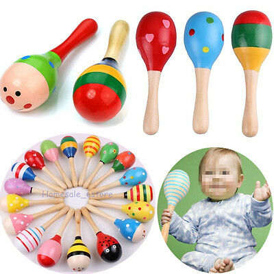 2-10Pcs Wooden Wood Maraca Rattles Shaker Percussion Kid Baby Musical Toy Gift