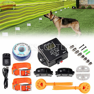 Electric Hidden System Dog Fence 2 Shock Wireless Waterproof Collar LED Display