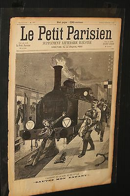 STEAM TRAIN ACCIDENT 1899 Le Petit Journal lithograph France newspaper engine