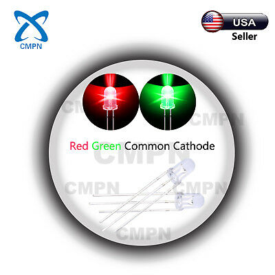 100Pcs 5mm 3Pin Dual Bi-Color Red/Green Common Cathode Water Clear LED Diodes