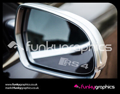 AUDI RS4 LOGO MIRROR DECALS STICKERS GRAPHICS x3 IN SILVER ETCH