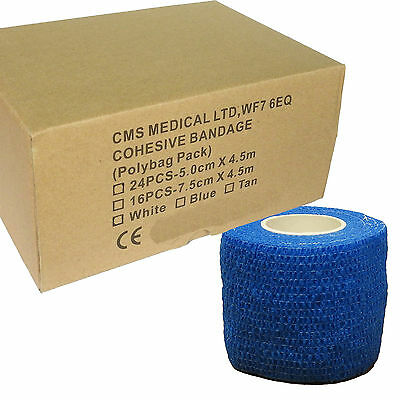 Full Box of Premium Blue 5cm Coban Cohesive Bandage Athletic Support Tape Rolls