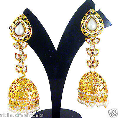 Z 7 Indian Fashion Jewelry Gold Bridal Bollywood Jumka Traditional Earrings