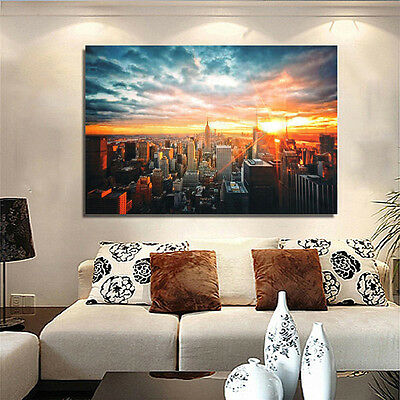 Hot New York City Sunset Cityscape Silk Cloth Poster Picture Home Wall 90*60cm