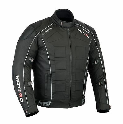 Men,s Motorcycle Motorbike Waterproof Windproof CE Armoured Cordura Jacket Black