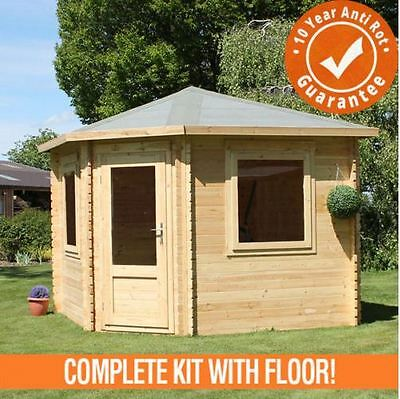 3m x 3m Corner Log Cabin Single Door Summer House Outdoor Office 10ftx10ft 34mm