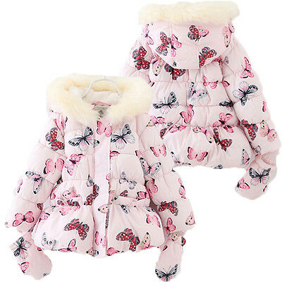 Kids Baby Girl Fur Warm Hooded Coat Thick Jacket Snowsuit Outwear With Gloves UK