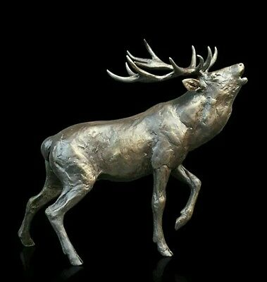 -1%1 Stag Roaring Deer Solid Bronze Foundry Cast Sculpture by Michael Simpson b