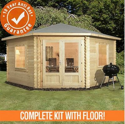 4m x 4m Lodge Cabin Double Door Garden Building Double Glazed 44mm