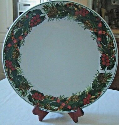 3 X-Large Charger Serving Plates Kopin Christmas Heritage Holiday Holly Berry