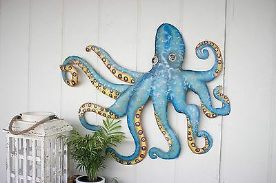 """Coastal Nautical Beach Cottage Hand Hammered Recycled Metal Octopus 32"""" Wall Art"""