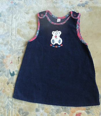 Baby clothes GIRL 6-9m pinafore dress corded cotton navy blue bear tartan edging