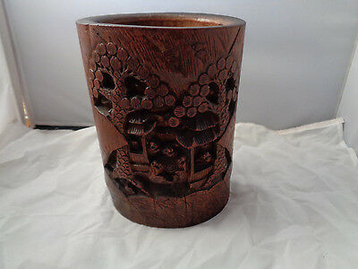 Antique 19Th Century Chinese Brush Pot Wood Carved Bamboo