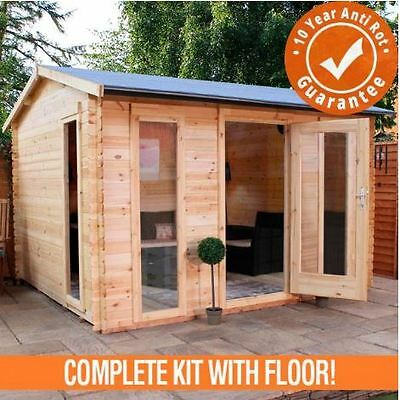 3.5m x 3m Woodborough Log Cabin Single Door - Garden Building Summer house Home