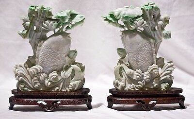 Pair Apple Green Jade Fish