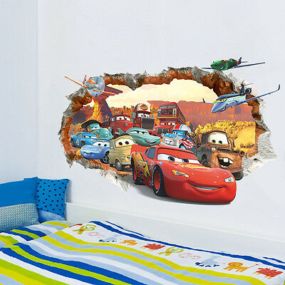 DISNEY CARS PLANES Wall Crack Sticker Art Vinyl Bedroom Kids Lightning McQueen