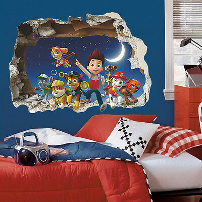 3D PAW PATROL Wall Crack Sticker Art Vinyl Bedroom Kids Boys Girls Cartoon SKYE