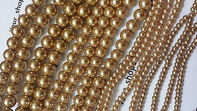 100-500 Glass Gold Pearl beads 6 size 3, 4, 5, 6, 8, 10mm Jewellery making