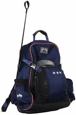 Equine Couture Super Star Back Pack Ec Navy w/EC Red Piping-STD Gear Bag Waterpf