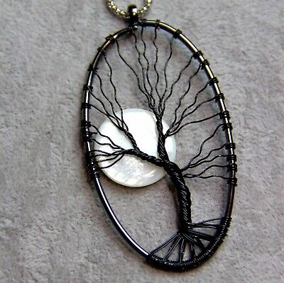 Handmade Wire Work Moon And Tree Of Life Pendant Necklace