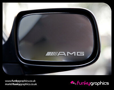 AMG MIRROR DECALS STICKERS GRAPHICS x 3 IN SILVER ETCH