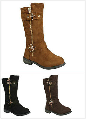 Brand New Girl's Dress up Fashion Flat Heel Mid Calf Motocycle Boots Faux Suede