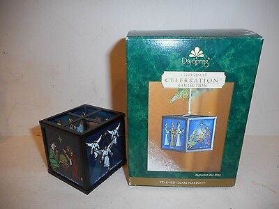 New Dayspring Christmas Celebration Collection Stained Glass Nativity Ornament