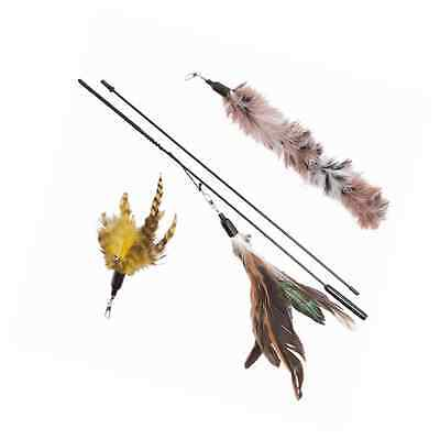 Cat Toy Feather Wand (Includes 3x Feather Refills) - These Natural Feathers are