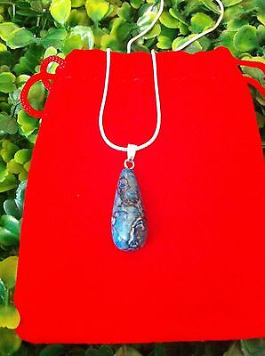 Natural Blue Crazy Lace Agate Crystal Gemstone Sterling Silver Pendant Necklace