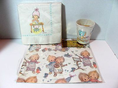 Lot of 3 Vintage Hallmark BETSEY CLARK Wrapping Paper, Napkins & Cup