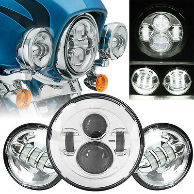 "7"" LED Daymaker Headlight Passing Lights Fit Harley Davidson Road King FLHR"