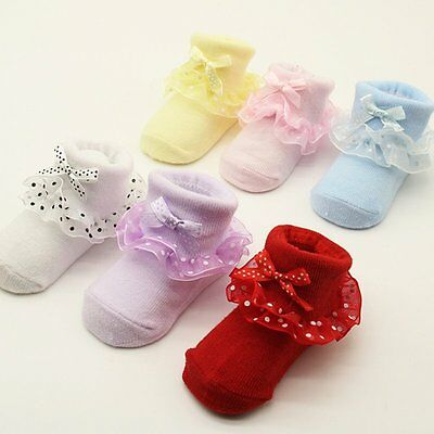 Baby Socks Girls Anti-slip Socks Toddler Lacce Ankle Socks Newborn Slipper Shoes