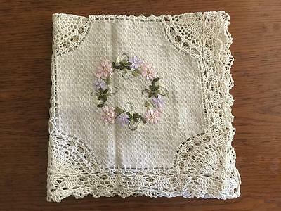 Vintage Beige Silk Ribbon Embroidery Flower Hand Crochet Lace Table Cloth--B