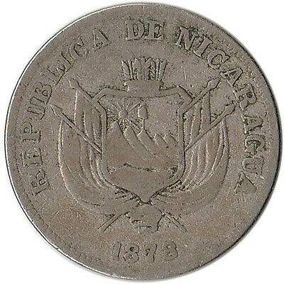 1878 Nicaragua 1 Centavo Coin KM#1 Rare One Year Type