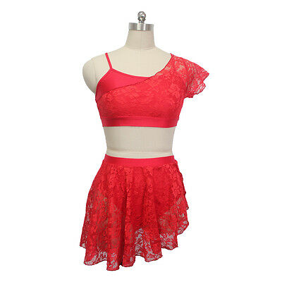 c70ac10f74d2 Contemporary Ballet Dance Lycra Crop Top Shorts Lace Overlay Costume Girls