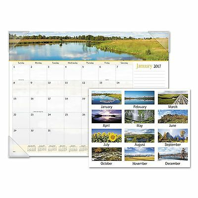 AT-A-GLANCE 89802 Landscape Panoramic Desk Pad  22 x 17  Landscapes  2018
