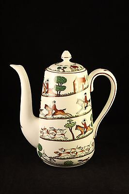 Wedgwood Style Crown Staffordshire Coffee Pot Hunting Scene Bone China England
