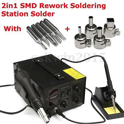 2in1 SMD 852D+ Rework Soldering Station Hot Air Gun + Solder Iron Tool + 5 Tips