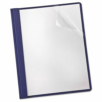 Oxford 53343 Linen Finish Clear Front Report Cover  3 Fasteners  Letter  Navy