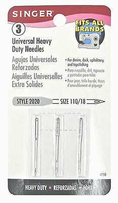 Singer Heavy Duty Machine Needles, Size 110/18, 3-Pack
