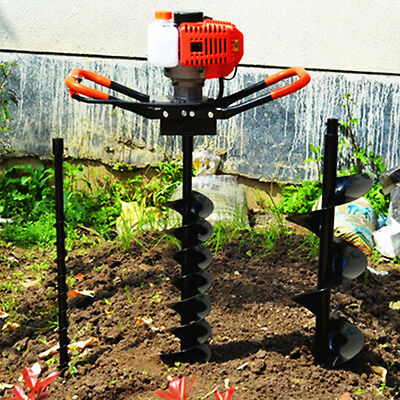 52cc Petrol Earth Auger Digger V-Type Post Hole Borer Ground Drill W/ 3 Bits UK